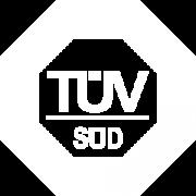 Logo von TÜV Süd in Weiß